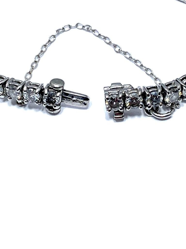 8.50 Carat Round Brilliant Diamond Platinum Straight Line Tennis Bracelet For Sale 1