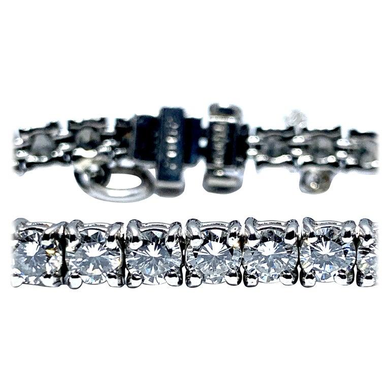 8.50 Carat Round Brilliant Diamond Platinum Straight Line Tennis Bracelet For Sale