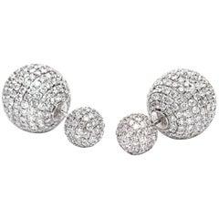 8.50 Carat Round Brilliant Micro Set 18Karat White Gold Diamond Sphere Earrings