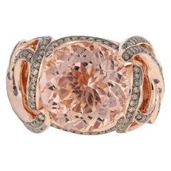 8.50 Carat Round Cut Morganite and Diamond Ring, 10 Karat Rose Gold