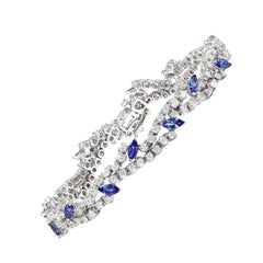 8.50 Carat Tanzanite 18 Karat Solid White Gold Diamond Bracelet