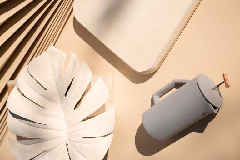 Modern 850 mL Ceramic French Press, Matte Gray For Sale