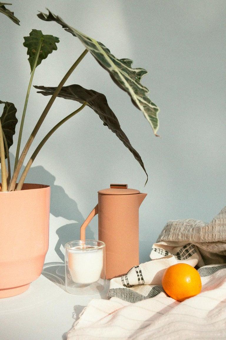Modern 850 mL Ceramic French Press, Matte Sand For Sale