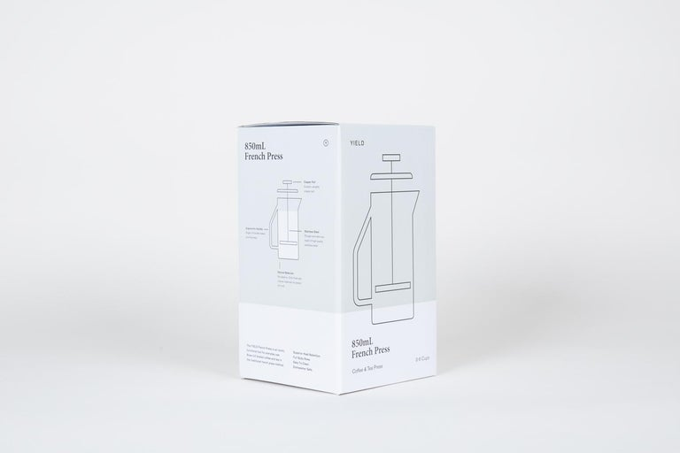 Modern 850 mL Glass French Press, Gray For Sale