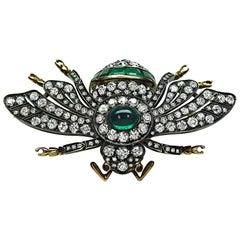 8.50ct Diamond 5.00ct Emerald Bee Pin