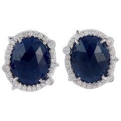 8.51 Carat Blue Sapphire Diamond 18 Karat Gold Stud Earrings