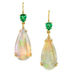 8.51 Carat Opal and Tsavorite 18k Yellow Gold French Wire Earrings