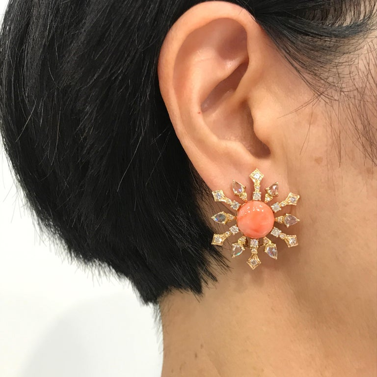 Women's 8.51 Carat Round Coral and Diamond Stud Earrings For Sale