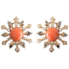 8.51 Carat Round Coral and Diamond Stud Earrings