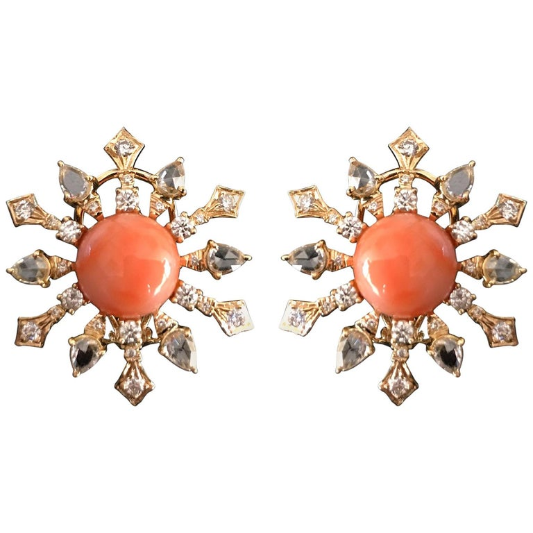 8.51 Carat Round Coral and Diamond Stud Earrings For Sale