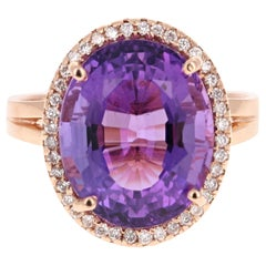 8.52 Carat Amethyst Diamond 14 Karat Rose Gold Ring