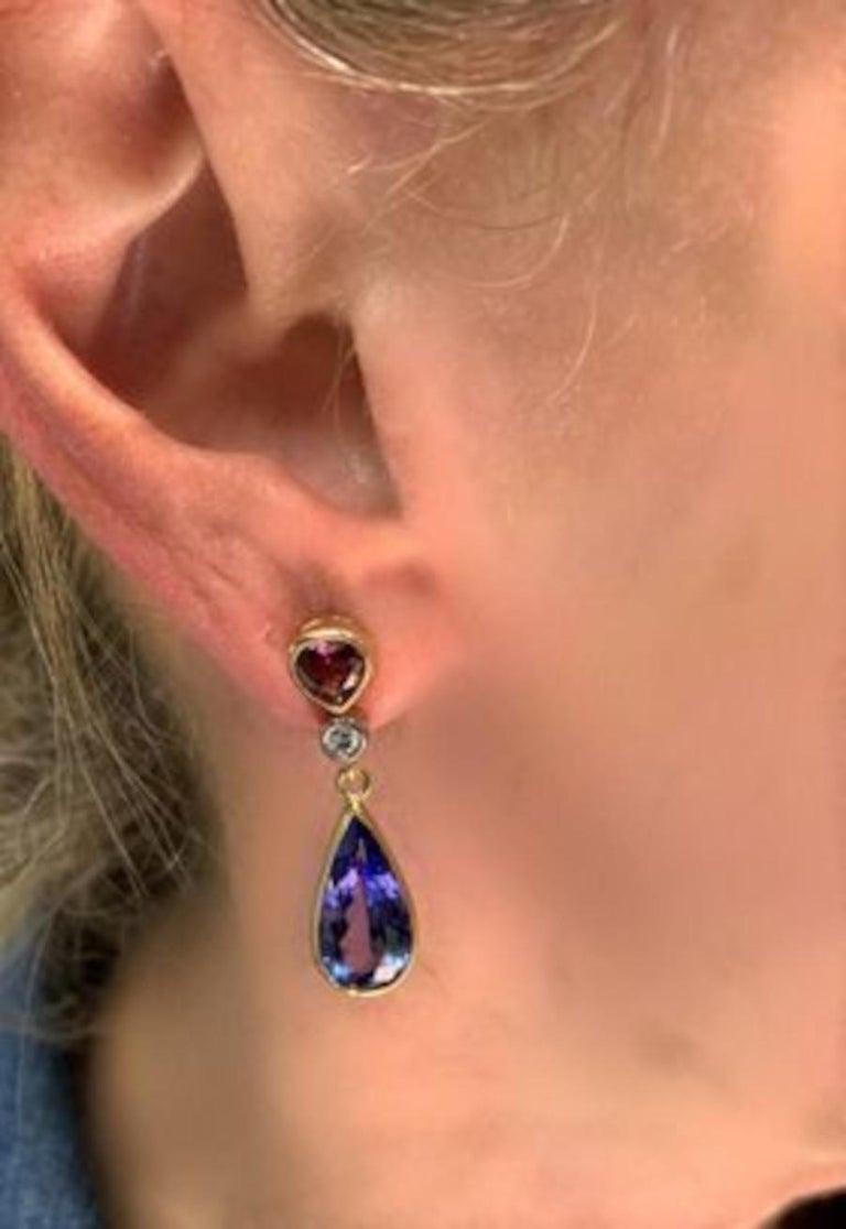 8.52 ct. t.w. Tanzanite, Garnet, Diamond, Yellow Gold Dangle Drop Earrings For Sale 1
