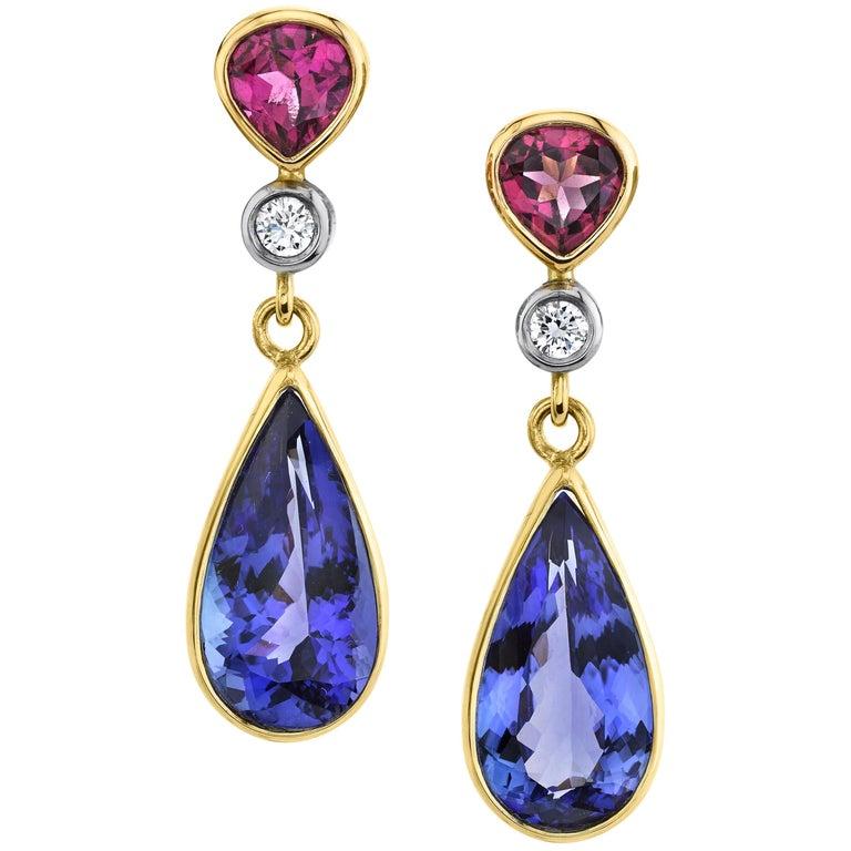 8.52 ct. t.w. Tanzanite, Garnet, Diamond, Yellow Gold Dangle Drop Earrings For Sale