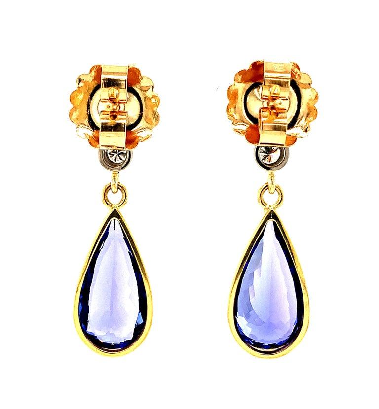 Artisan 8.52 ct. t.w. Tanzanite, Garnet, Diamond, Yellow Gold Dangle Drop Earrings For Sale