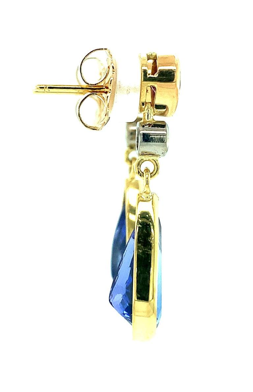 Pear Cut 8.52 ct. t.w. Tanzanite, Garnet, Diamond, Yellow Gold Dangle Drop Earrings For Sale