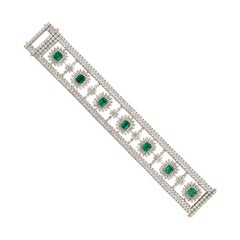 8.526 Carat Emerald Bracelet and Necklace in 18 Karat White Gold with Diamonds