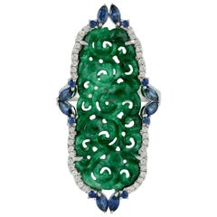 8.53 Carat Carved Jade 18 Karat Gold Diamond Ring