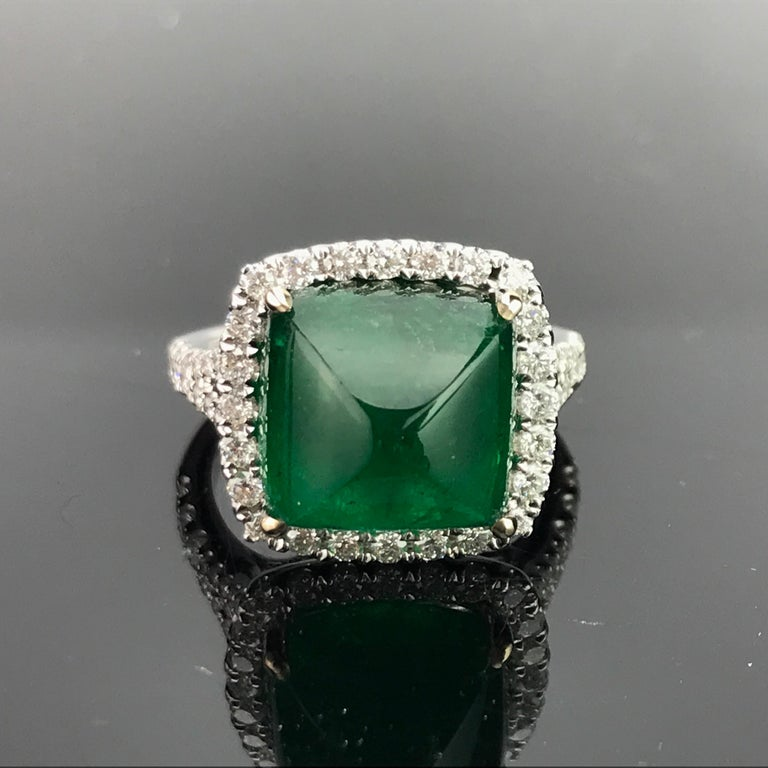 8 54 Carat Emerald Sugarloaf And Diamond Statement Ring