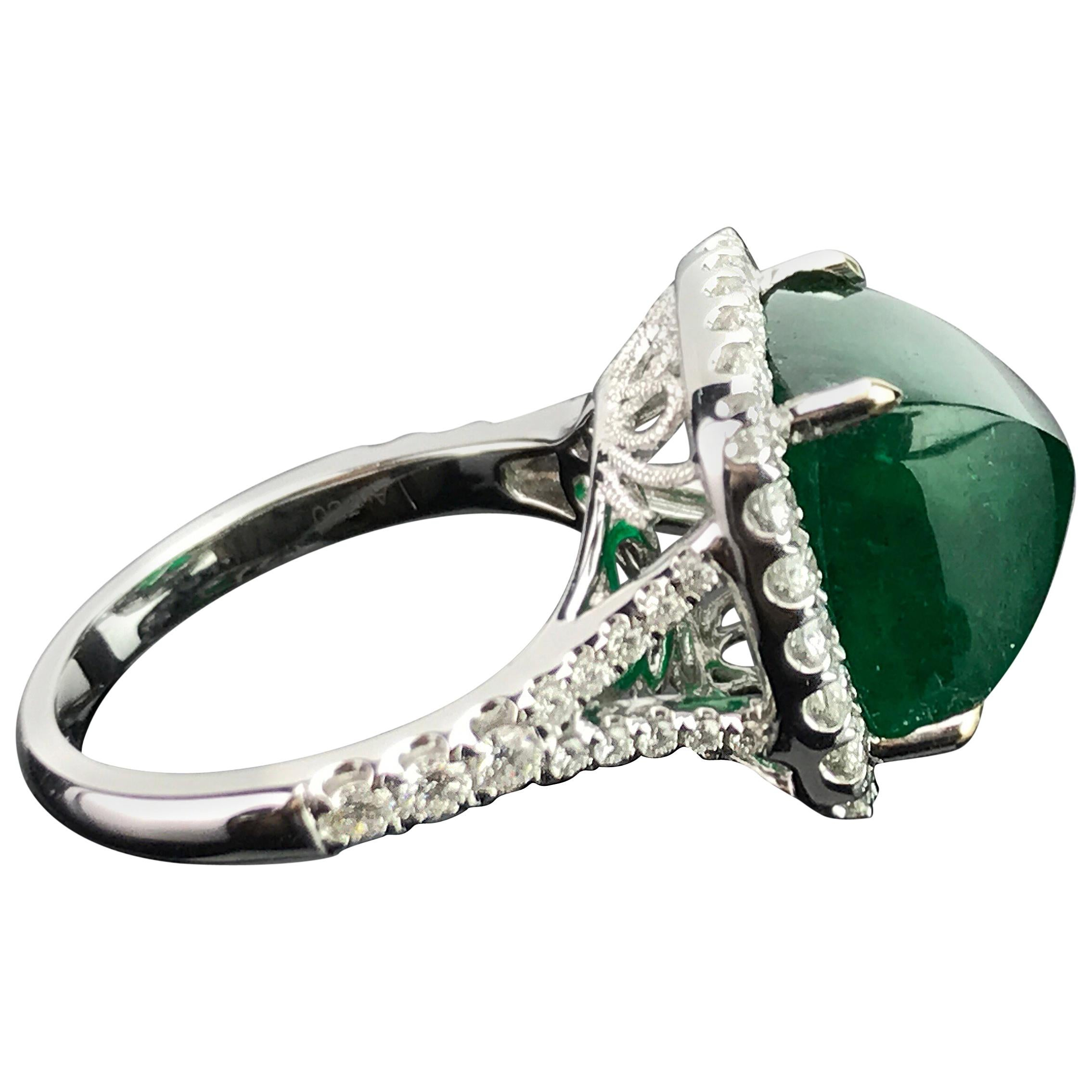 8.54 Carat Emerald Sugarloaf and Diamond Statement Ring