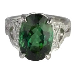 8.54 Carat Oval Cut Tourmaline and Diamond Ring in 14 Karat White Gold