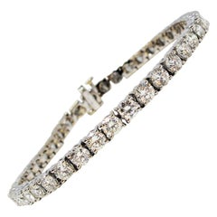 8.54 Carat Total Round Brilliant Diamond Tennis Bracelet 14 Karat White Gold