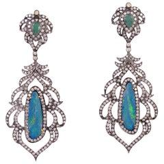 8.55 Carat Opal Emerald Diamond Earrings