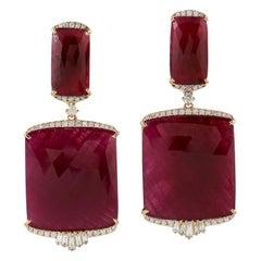 85.52 Carat Ruby Diamond 18 Karat Gold Earrings