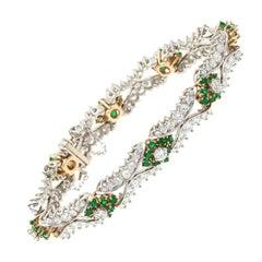 8.56 Carat Emerald Diamond Gold Bracelet