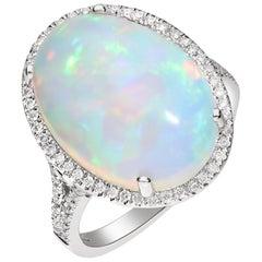 8.56 Carat Ethiopian Opal and Diamond 14 Karat Ring