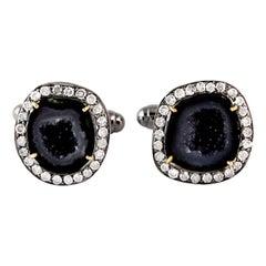 8.56 Carat Geode Diamond Cufflinks