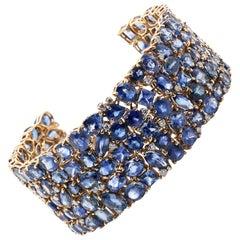 85.60 Carat Blue Sapphire Diamond 18 Karat White Gold Link Bracelet