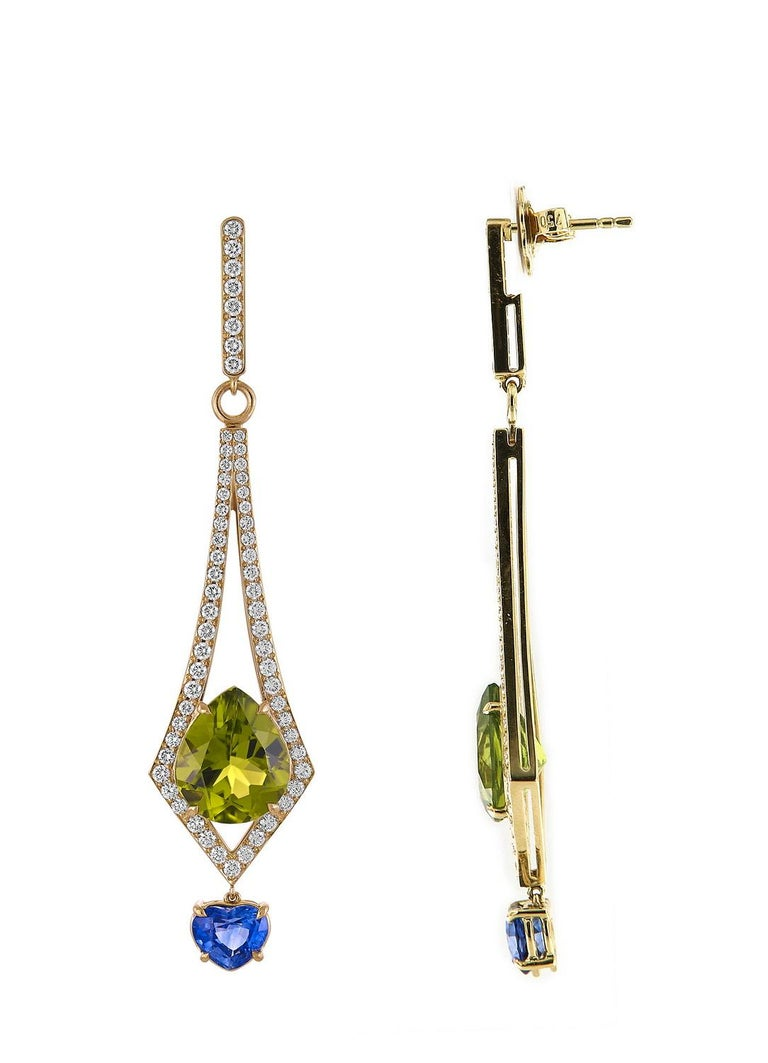 Modern 8.57 Carat Peridot and 2.26 Carat Blue Sapphire and Diamond Earrings For Sale