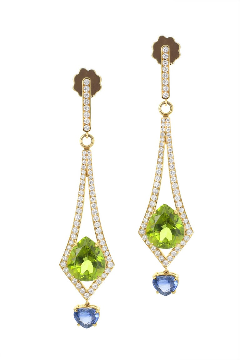 Pear Cut 8.57 Carat Peridot and 2.26 Carat Blue Sapphire and Diamond Earrings For Sale