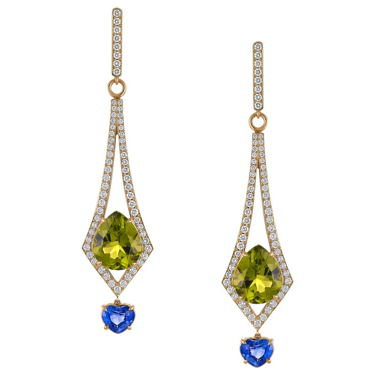 8.57 Carat Peridot and 2.26 Carat Blue Sapphire and Diamond Earrings For Sale