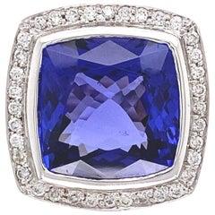 8.58 Carat Cushion Cut Tanzanite and Diamond Gold Ring Estate Fine Jewelry