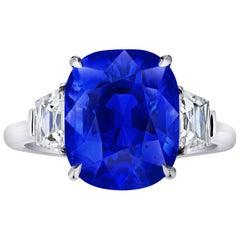 8.59 Carat Cushion Blue Sapphire and Diamond Ring