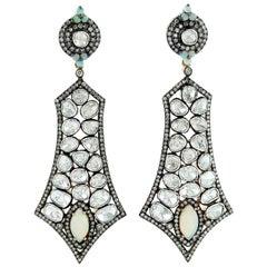 8.59 Carat Rose Cut Diamond Ethiopian Opal Earrings