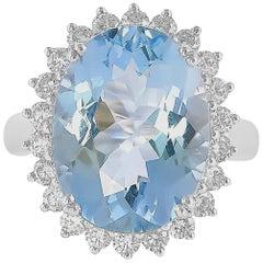8.6 Carat Aquamarine and Diamond Ring in 18 Karat White Gold