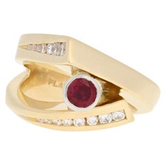 .86 Carat Round Cut Ruby and Diamond Ring, 18 Karat Gold and 900 Platinum Bypass