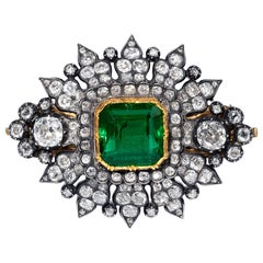 8.60 Carat Emerald And Diamond Brooch