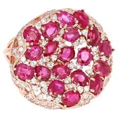 8.60 Carat GIA Certified Ruby and Diamond 14 Karat Rose Gold Cocktail Ring