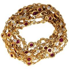 8.60 Carat Natural Ruby Diamonds Station Yard Necklace 14 Karat Double Wrap Wear