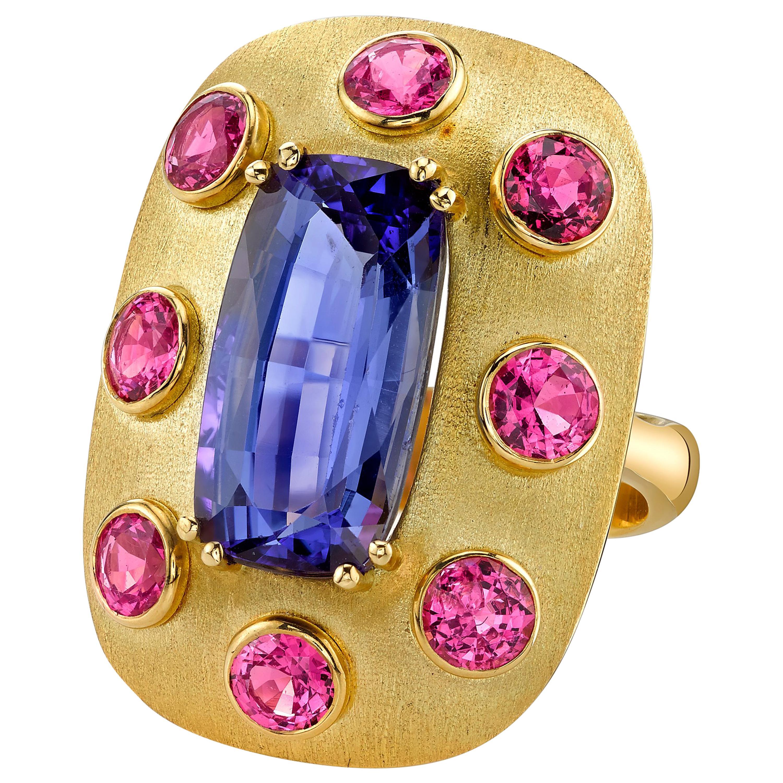 8.61 ct. Tanzanite Cushion, Pink Spinel, Yellow Gold Handmade Dome Ring