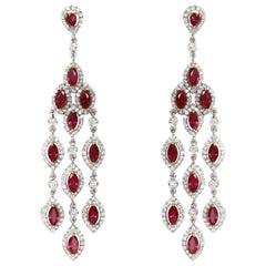 8.61 Carat Natural Burmese Ruby and 3.14 Carat Diamond Chandelier Drop Earring