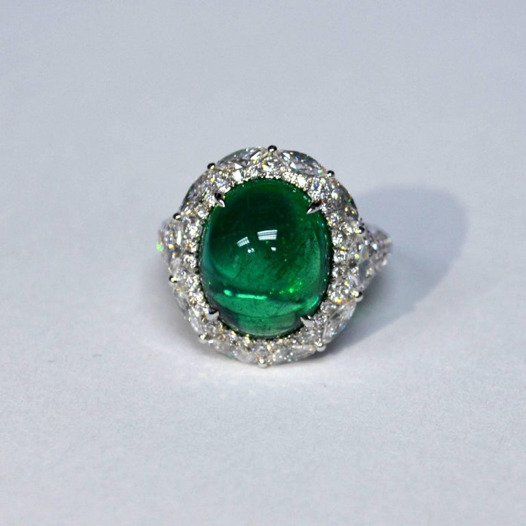 8 61 Carat Oval Cabochon Emerald Diamond Cocktail Ring For