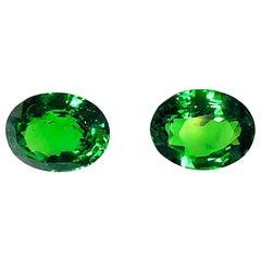 8.61 Carat Total, Tsavorite Garnet Pair, GIA, Unset Ring or Earring Gemstones
