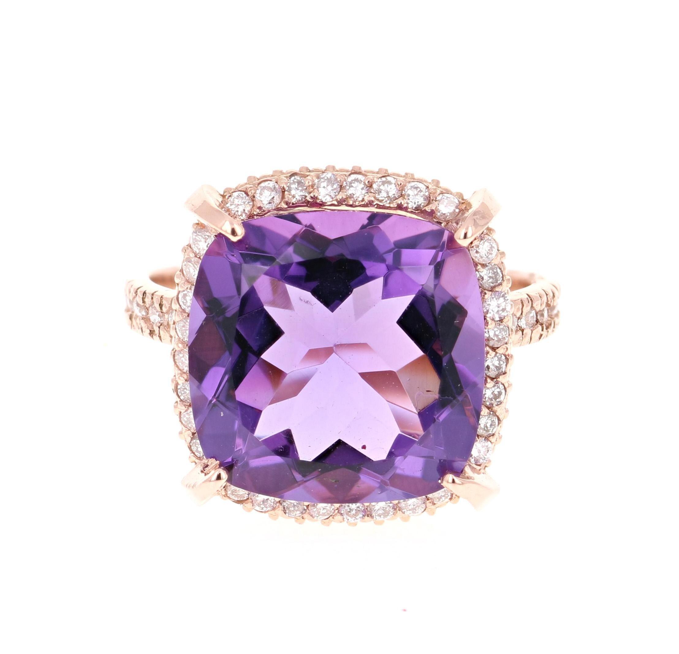 8.62 Carat Cushion Cut Amethyst Diamond Rose Gold Bridal Ring