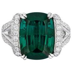 8.63 Carat Cushion Green Tourmaline Diamonds Cocktail Ring