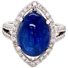 8.63 Carat GRS Certified Unheated Burma Sapphire Cabochon and White Diamond Ring