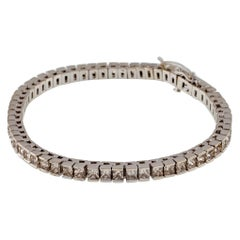 8.63 Carat Princess Cut Diamond Tennis Bracelet in White Gold